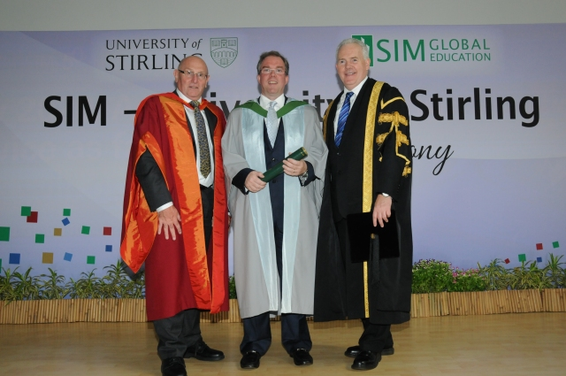 Dr O'Connor with Principal  McCormac (R) and Professor Sparks (L)