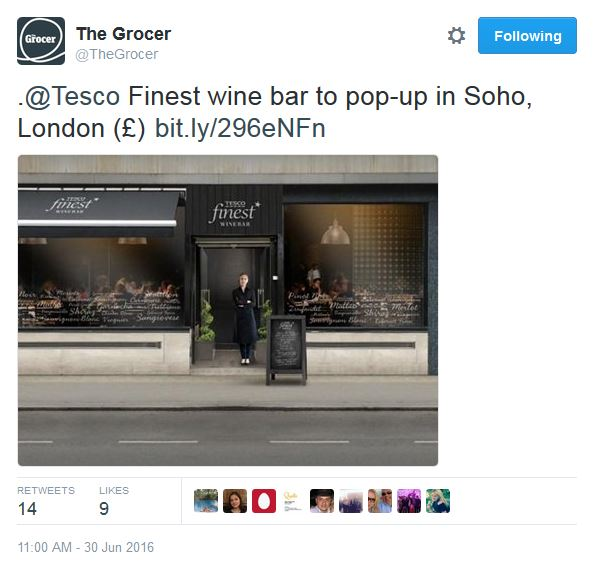 Tesco wine Bar