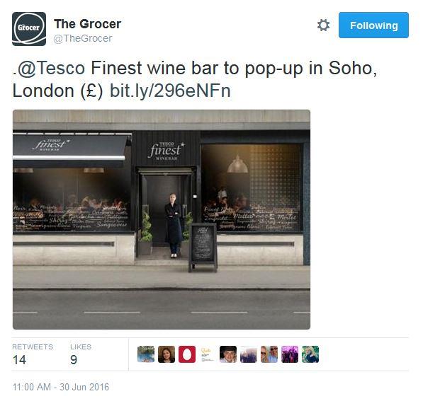 Tesco wine Bar